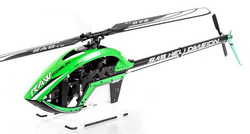 Sab Goblin RAW 700 size NITRO helicopter kit with Blades ,green neon